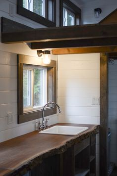 Honetly I love it simply for those amazing countertops. sigh!  Rewild Homes Tiny House | Tiny House Swoon