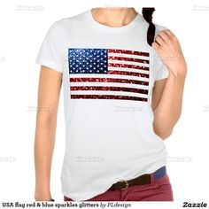 17.76% OFF ALL ORDERS til 07/04/2015 with Code: CELEBRATEUSA : USA flag red and blue sparkles print Lady's Shirt made in USA #PLdesign #4thofJuly #USASparkles #SparklesGift