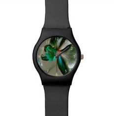 Artistic Flower in Blue, Green and Grey Tones / May28th Wrist Watch, black or white #fomadesign