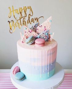 pastel-birthday-cake-macaroons-pink-purple-and-blue-spring-colors-cake-birth/ - The world's most private search engine Girly Birthday Cakes, 14th Birthday Cakes, Sweet 16 Birthday Cake, Birthday Cakes For Teens, Beautiful Birthday Cakes, Colorful Birthday Cake, Birthday Cake Girls Teenager, Birthday Drip Cake, Birthday Ideas