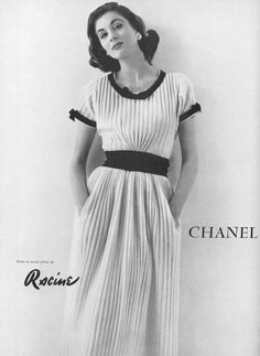 Suzy Parker in pleated jersey dress by Chanel, photo by Tom Kublin, 1954