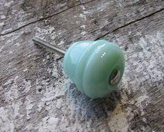 Set of 10 Milk Green Manhattan Knobs $45.00