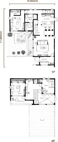 ZERO-CUBE+FUN (3LDKタイプ) 間取り図 Small Floor Plans, House Floor Plans, Japan House Design, Future House, My House, Triangle House, Facade House, House Layouts, How To Plan