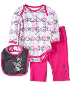 Calvin Klein Baby Girls' 3-Piece Bib, Bodysuit & Pants Set