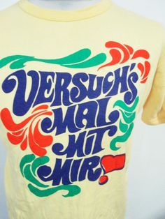 Vintage 80s German Chat Up Line Psychedelic Hipster Euro T-Shirt Small