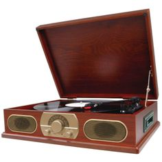 Studebaker Wooden Turntable With Am And Fm Radio & Cassette Player