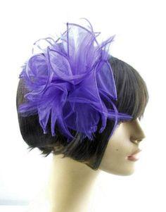 Purple-Shaped-Organza-Flowers-Hair-Fascinator-finished-on-ultra-slim-headband