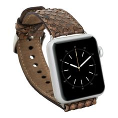 Apple Watch Band Burkley Exotic Snake Skin Genuine Leather Watch Strap Replacement Wrist Band With Adapter Clasp for iWatch Apple Watch and Sport and Edition- in 38 mm (Brown) *** Read more reviews of the product by visiting the link on the image. (This is an affiliate link and I receive a commission for the sales)