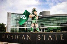 Sparty outside the Skandalaris Football Center at Michigan State University, East Lansing, Michigan