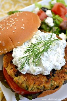 Greek Veggie Burgers with Cucumber Feta Sauce … serve these amazing vegetarian burgers with a simple salad for a delicious meal that your whole family will love! Hello Little Home Greek Veggie Burgers with Cucumber Feta Sauce Beginner Vegetarian, Tasty Vegetarian Recipes, Vegetarian Dinners, Veggie Recipes, Cooking Recipes, Healthy Recipes, Vegetarian Lunch, Vegetarian Cooking, Meal Recipes