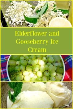 Elderflower and Gooseberry Ice Cream - a perfect combination of sweet, homemade elderflower cordial and tart gooseberries