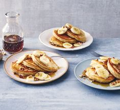 Turn overripe, blackened bananas into sweet, fluffy American-style pancakes. Serve with syrup and crunchy, toasted pecan nuts as a delicious brunch treat Vegan Breakfast Muffins, Breakfast Dishes, Breakfast Recipes, Breakfast Ideas, Pancakes And Waffles, Banana Pancakes, Easy Banana Pancake Recipe, Fried Butter, Bbc Good Food Show