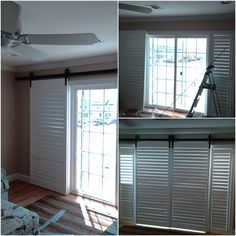 a before u0026 after shot of plantation shutters with custom barn door hardware