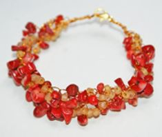 Learn How to Crochet Wire Jewelry with This Easy Guide: Red Coral Wire Crochet Bracelet