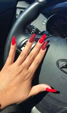 Nagelideen Coffin Nails coffin nails red and silver Acrylic Nails Natural, Marble Acrylic Nails, Natural Nails, Nail Art Cute, Cute Nails, My Nails, Prom Nails, Long Nails, Short Nails