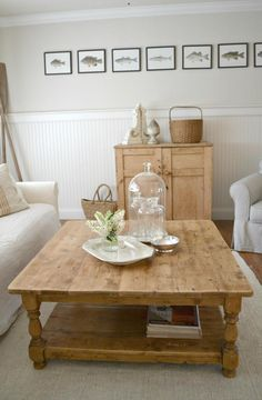love the big coffee table and soft, natural colors of the room