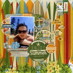 Enjoy Your Summer Layout by Lynn Shokoples for BoBunny featuring the Beach Therapy Collection and Craft Dies