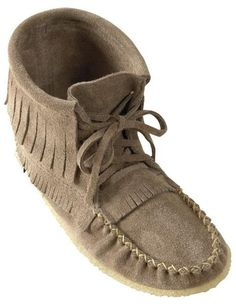 bb392f4deec Suede moccasin with Fringe detail and Crepe Rubber Sole in ladies sizes,  Lace up ties