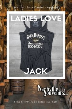 c480b813 This officially licensed ladies Jack Daniels Tennessee Honey Tank Top  featuring the Tennessee Honey and gold