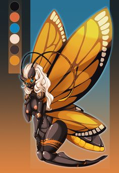 Breasts butterfly female fsmaverick hair insect nude smile solo wings