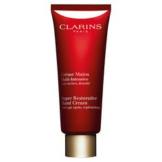 Clarins Super Restorative Hand Cream.SH - Clarins Super Restorative Hand Cream (£37.50 but for a tube twice the size of most). I'm not usually one to get excited about hand cream, but honestly and truly, this one has allowed my nails to grow longer than they've been in well over a decade without being thwarted by splits and breakages. It's extraordinary – as well as feeling velvety and smelling comforting. I cannot evangelise enough.