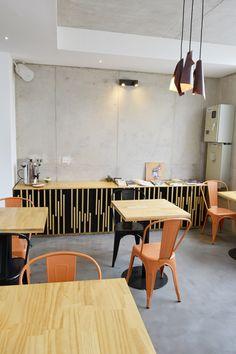 Muebles para cafetería, buffet mas mesas, Hotel Verso, Cerro Florida, Valparaiso, Chile
