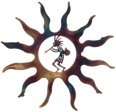 Right ankle - The hot summer sun and kokopelli flute player in this southwest metal wall art really warm up a room with its joyful attitude. Carefully laser cut from steel, this metal wall art is heat treated with Metal Walls, Metal Wall Art, Metal Artwork, Kokopelli Tattoo, Tattoo Symbole, Native American Symbols, Laser Cut Metal, Southwest Decor, Southwest Style
