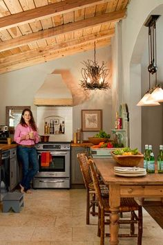 ceiling...Photo: Deborah Whitlaw Llewellyn | thisoldhouse.com | from Cottage-Style Comeback for a 1950s Stucco Ranch