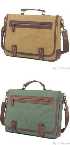 Retro Splicing Leather Flap Square Handbag Briefcase Laptop Thick Canvas Shoulder Bag is so cool. #laptop #handbag #square #retro #bag #briefcase #square