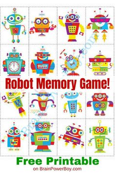Games for Kids Robot Memory Game Get your copy of this fun robot matching game totally free Click or Tap to print right now so you dont forgetGet your copy of this fun ro. Printable Games For Kids, Free Games For Kids, Memory Games For Kids, Preschool Printables, Matching Games For Toddlers, School Games For Kids, Free Printable, Toddler Games, Letter R Activities
