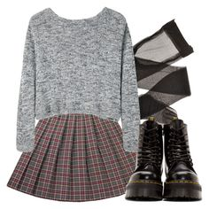 lace up black leather combat boots, plaid skirt in grey and dark red, grunge definition, sheer black tights, and a shirt jumper in grey marl Diy Outfits, Grunge Outfits, Grunge Fashion, 90s Fashion, Look Fashion, Fall Outfits, Casual Outfits, Cute Outfits, Fashion Outfits