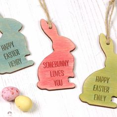 Personalised Easter Bunny Keepsake Decoration by Bombus, the perfect gift for Explore more unique gifts in our curated marketplace. Name Decorations, Easter Tree Decorations, Happy Easter, Easter Bunny, Keepsake Baby Gifts, Laser Engraved Gifts, Easter Garden, Easter Celebration, Easter Crafts