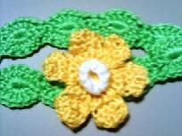 Young lady's hand-crocheted headband.  $3 on Yardsellr.  Only .85 shipping cost.