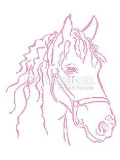 Arte vetorial : Plano aproximado de cruz bordado cabeça de Cavalo
