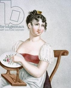 The Embroiderer, engraved by Augrand, c.1816 (coloured engraving)