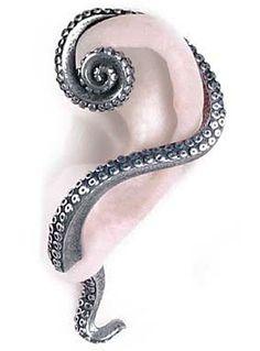 Kraken Tentacle Wrap Earring by Alchemy 1977, 16, Silver