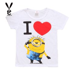 Clearance Sale Boy Grils T shirt cartoon anime figure Minions clothes  minion costume children s clothing 27d8946a5