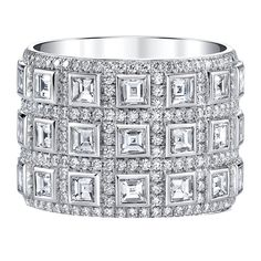 Carré Cut Diamond Platinum Ring   From a unique collection of vintage band rings at https://www.1stdibs.com/jewelry/rings/band-rings/