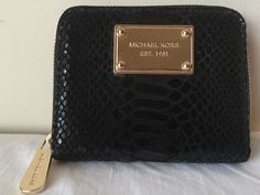 50aaa7583726 Pre-Owned 100% Auth Patent Python Embossed Michael Kors Zip Around wallet,  Black