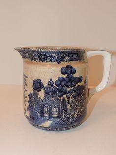 "BUFFALO Pottery Antique 1910 Blue Willow Semi-Vitrious Milk Pitcher 5.5"" Tall #BuffaloPottery"