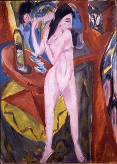 Nude Woman Combing Her Hair by Ernst Ludwig Kirchner Size: 125x90 cm Medium: oil on canvas