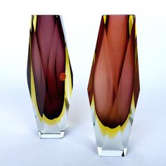 A Faceted Murano Sommerso Glass Vases. Circa 1960s'
