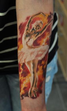 Ballerina tattoo done by Den Yakovlev