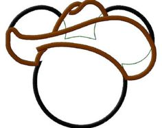 Mouse Head Cowboy Applique Embroidery Design