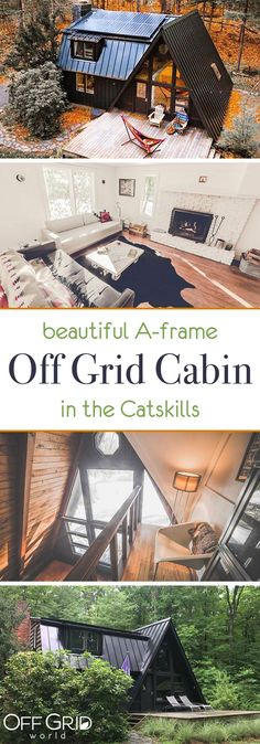 Beautiful A-frame off grid cabin