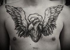 Beautiful black ink tattoos by Alex Tabuns