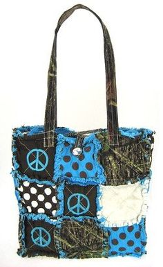 $27.99-$39.99 Handbags  Patchwork Leaf Camo Tote Bag Purse Camouflage Peace Signs and Polka Dots Blue - Size : 12w x 11d x 4h in.      Material : Cotton Patch    Description:    * Zipper & Button Closure    * Two Open Pocket Inside    * Double Handles    * Metal Feet on Bottom    * High Quality Soft Cotton Patch http://www.amazon.com/dp/B005K40W4A/?tag=pin0ce-20