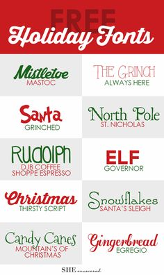 free holiday fonts - perfect for using on Christmas cards, gift tags, and DIY holiday projects (Favorite Fonts) Holiday Fonts, Christmas Fonts, Christmas Crafts, Xmas, Christmas Holiday, Holiday Cards, Nordic Christmas, Holiday Sayings, Christmas Tables