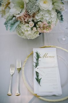 With Spring in full swing and Easter just around the corner, a wedding infused with the prettiest of pastels is about as timely as you can get. Photographed beautifully by Delbarr Moradi with desig. Rehearsal Dinner Menu, Wedding Rehearsal, Dinner Party Decorations, Wedding Decorations, Table Decorations, Wedding Reception Flowers, Wedding Table, Bridal Table, Wedding Dinner