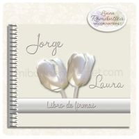 Libro de Firmas Boda Tulipanes Constanza Pearl Earrings, Pearls, Romantic Wedding Invitations, Signature Book, Tulips, Gifts, Bodas, Pearl Studs, Bead Earrings